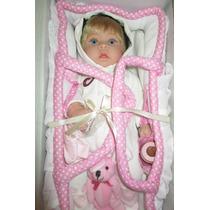 Boneca Bebê Reborn Barata Menina C/ Enxoval Cesto Molly