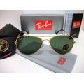 Óculos De Sol Rayban Aviador 3025 Dourado Lente Verde G15