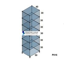 Prateleira Estante Vitrine Vidro Modulado P016 (conec Preto)