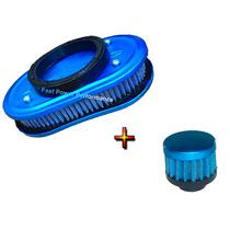 Kit Filtro Ar Esportivo Marmita Carburado 2e 3e Azul Respiro