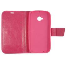 Capa Case Carteira Flip Cover Moto E2 Xt1514.xt1527 Pink .