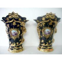 Par De Vasos Ânforas Em Porcelana Europeia Vieux Paris Raros