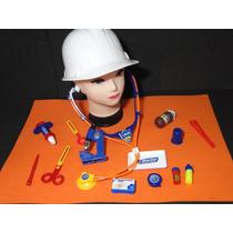 Kit Doutor Medico Microscopio Capacete Estetoscopio Curativo