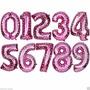 Balão Metalizado Número Rosa Pink Infantil Decoração Coração