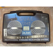 Microfone Profissional Leson Duplo Uhf Ls802 Uhf Dual