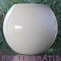 Vaso Redondo / Bola Grande De Vidro Branco Home - Bu114