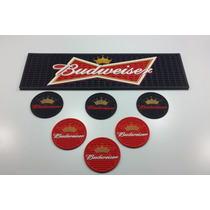 Kit Budweiser, Bar Mat + 6 Porta Copos - Área Gourmet Pub