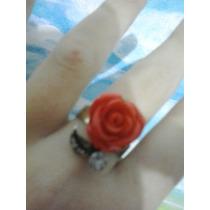 Lote 3 Anéis Com Rosa Vermelha Preta E Bege