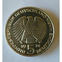 Moeda Alemã De Prata 5 Marcos 1974 - 25 Anos Da Constituição