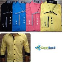 Kit Com 05 Camisa Social Slim - Preço Atacado P Revenda