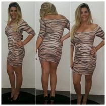 Vestido Feminino Limone Curto Estampa Onça Ref 03870