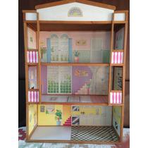 Barbie Casa De Madeira, 3 A. Anos 80 C/ Moveis- Frete Grátis