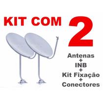 Kit De 2 Antenas Banda Ku - 90 Cm - Lnbs - 40mts De Cabo