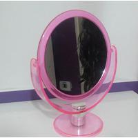 Espelho De Mesa Dupla Face Rosa 2 Lados Normal/aumento 3 X