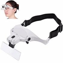 Oculos Lupa De Cabeca Pala Profissional Com 5 Lentes E 2 Led