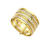 Aliança De Ouro Amarelo E Ouro Branco 18k 750 Largura 10