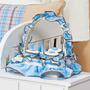 Cesta 3 Potes Para Quarto De Bebê Menino Col. Arca Baby Azul