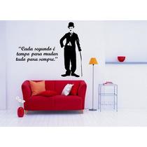 Adesivo Decorativo Parede Quarto Charlie Chaplin + Frase