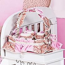 Cesta 3 Potes Para Quarto De Bebê Coleção Luxo Angelina