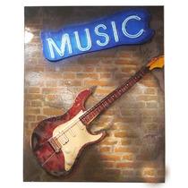 Enfeite Guitarra Music On The Wall De Metal