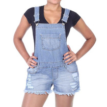 Macacão Jeans Modelo Jardineira C/ Bolsos E Passante