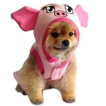 Roupa Fantasia Porquinho Para Cães Cachorros Tam P