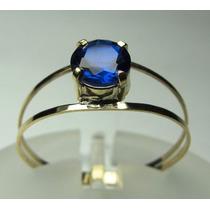 Anel Solitário Ouro 18k Azul Safira Lapidação Diamante