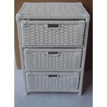 Gaveteiro De Vime Fibra Sintética Branco 3 Gavetas 44x32x65