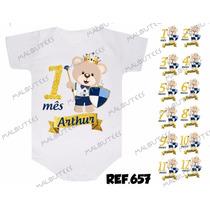 Kit 12 Body Mesversario Ursinho Urso Azul Personalize Nome