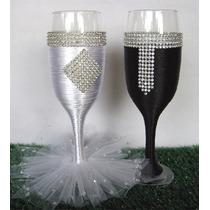Taça Personalizada Strass - Brinde Noivos Casamento