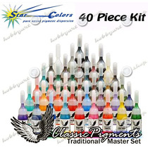 Tinta Para Tatuagem Kit 40 Cores Tattoo Pele Skin Ponteira