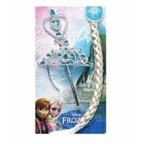 Kit Frozen, Personagen Elsa Com Coroa, Trança E Varinha.