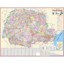 Mapa Geo Político E Rodoviário Gigante Do Estado Do Paraná