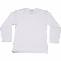 Camiseta Manga Longa Infantil Branca 100% Algodão Fio 30.1