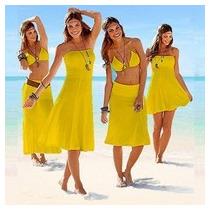 Saída De Praia Vestido Saia 4 Em 1 Moda Cores Importado