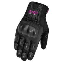 Luva X11 Blackout Feminina C/ Proteção Preta / Rosa - Moto