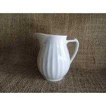 Jarra Ou Leiteira Pequena Porcelana Branca Canelada 10cm Alt