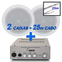 Kit Som Musica Ambiente 2 Arandela P/ Gesso + Amplificador