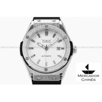 Relógio Masculino Jaragar Automático Branco Luxo Big Bang