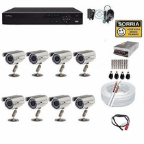 Kit Cftv 8 Cameras Infra Ccd Sony Dvr 8 Canais D1 Intelbras