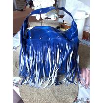 Bolsa De Curvin Sintético Com Franja Azul Royal