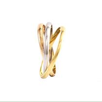 Anel Aliança Modelo Cartier De Ouro Amarelo, Branco E Rosé