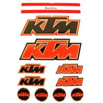 Kit Cartela 11 Adesivos Ktm Resinados