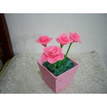 Enfeite Centro De Mesa Rosa/flores Aniversário Chá De Bebe