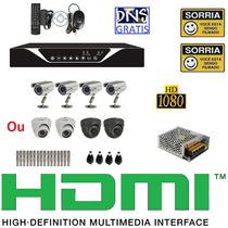 Kit Cftv 4 Cameras Sony 4 Fontes Dvr 4ch Full D1 Frete Free