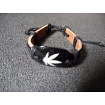 Pulseira Couro Marrom Escuro Folha Cannabis Bob Marley