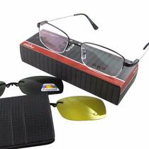 Armação P/ Óculos Em Titânio Memory Com Clip-on