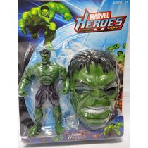 Boneco Hulk Articulado + Mascara Acende Led No Peito