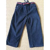 Calça Navy Veludo Com Cinto Bebê Menino 12/18 Meses 80cm