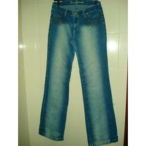 Calça Jeans Com Bordados / Tachas E Strass Tam 44